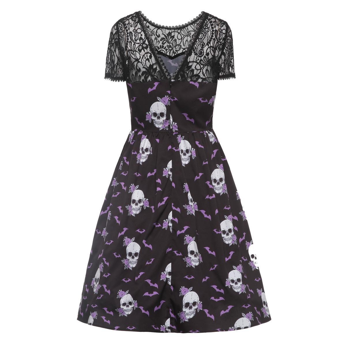 977b516f666 2019 Women Skull Dress Summer Black See Through Dress Gothic Dress Female  Backless Lace Dresses Evening Dress Sweater Dress From Bibei10