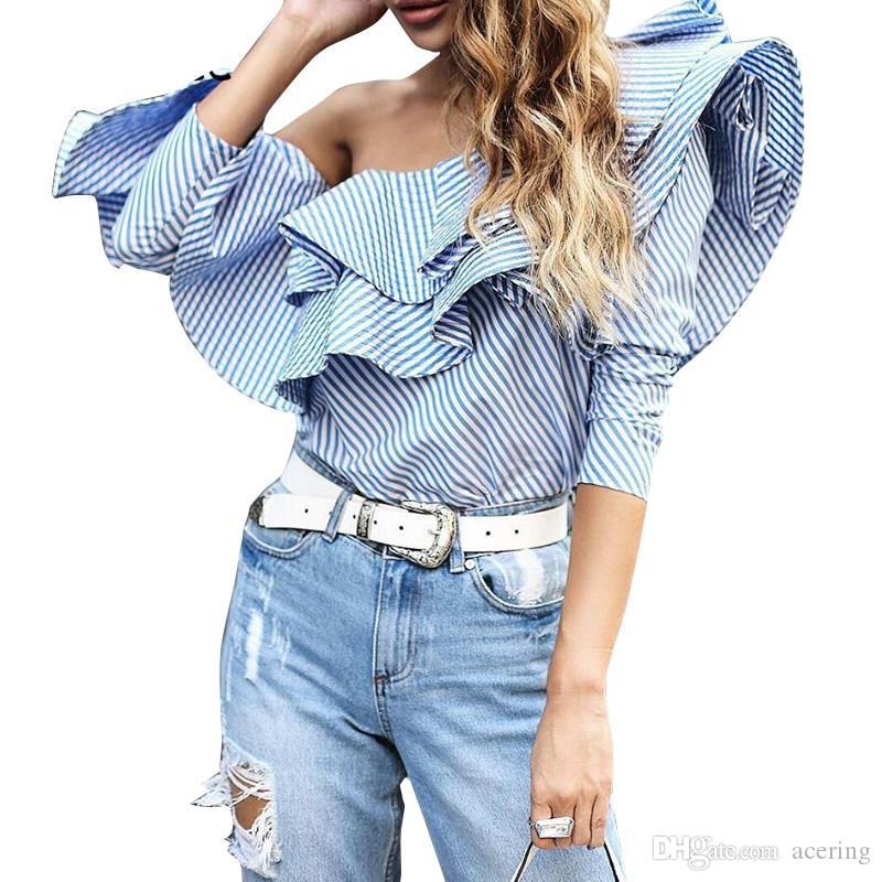 381ee1e6bd8196 2019 Ruffles Elegant Off Shoulder Tops Women Shirt Blouse Summer Top Woman  Long Sleeve Fashion Tops Plus Size Blouses From Acering, $33.47   DHgate.Com