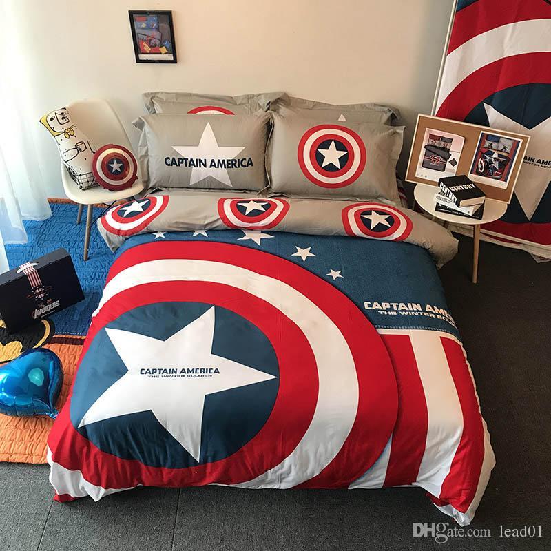 100 cotton marvel bedding sets spider man captain america flat rh dhgate com Marvel Super Hero Room Decor Marvel Heroes Bedroom Ideas