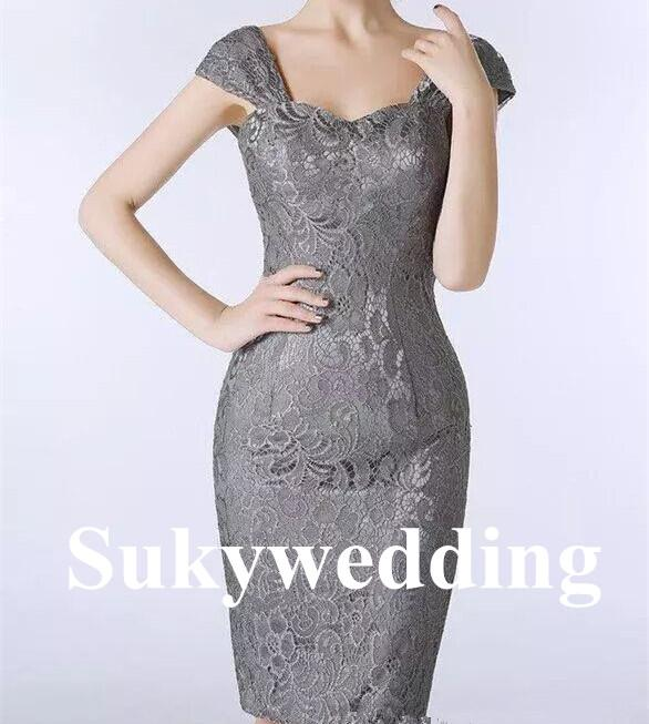 Elegant Plus Size Lace Mother of the Bride Dresses Grey Sheath Women Formal Dresses Party Evening Gowns Knee Length Custom Made