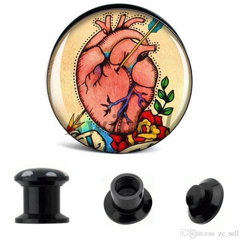 Acheter Gros Oreille Jauges Bouchons Tatouage Coeur Fleche Acrylique