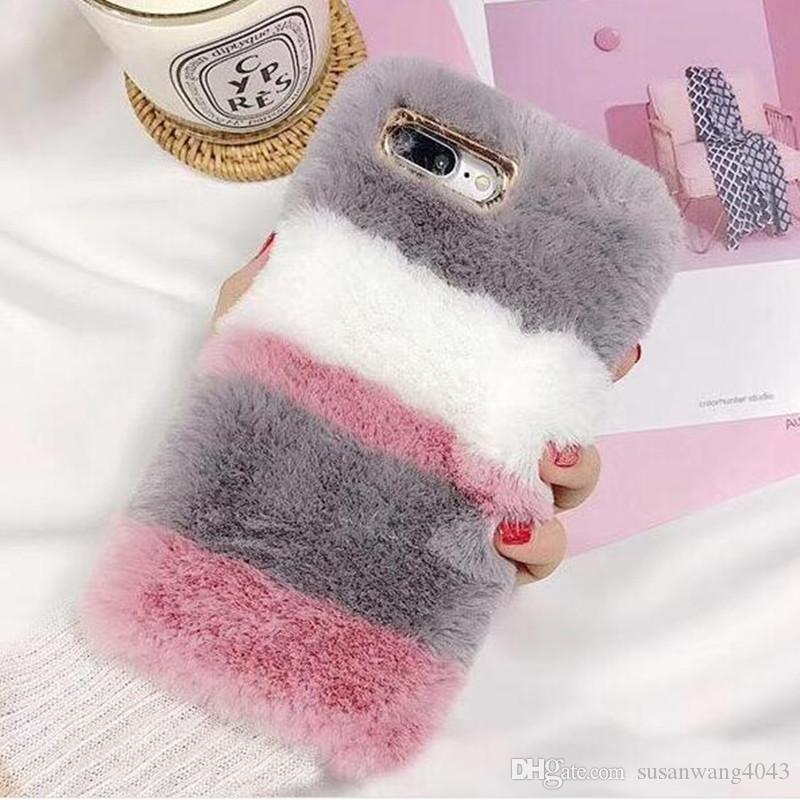 the latest 295e7 ffda2 Luxury Warm Fur Case For iPhone 7 8 Plus X iphone 6 6S Plus 5 5S SE Case  Luxury Plush Velvet Winter Women Silicone Cover Shell Skin GSZ478
