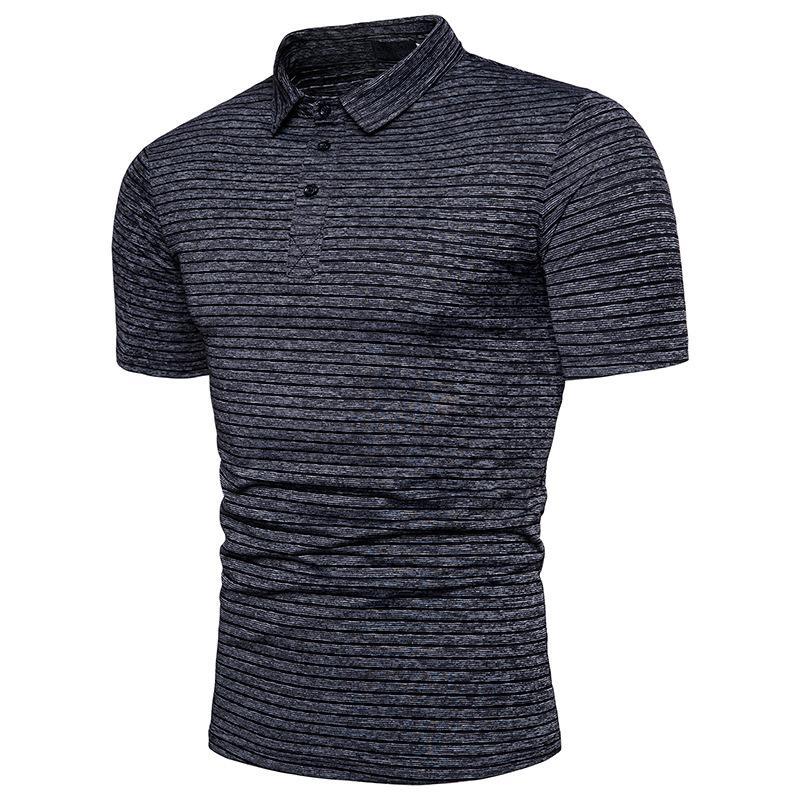 84d1bec8f3ec Designer Mens Retro Striped Short Sleeve Cotton Polo Shirt Brand New ...