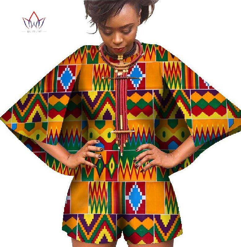 65c5c1b6fbe5 2018 Bazin African Wax Print Dashiki Jumpsuit Plus Size 6xl Romper ...