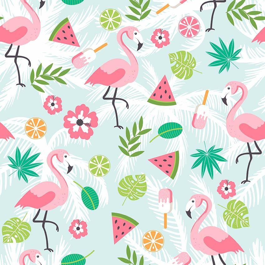 Compre Dibujos Animados Flamingo Telon De Fondo Impreso Hojas Verdes