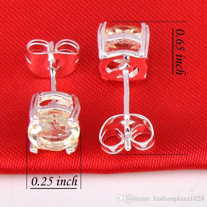 1 Los Luckyshine Holiday Gift Bright Round Gelb 925 Sterling Silber Russland American Australia Hochzeit Ohrstecker E0190
