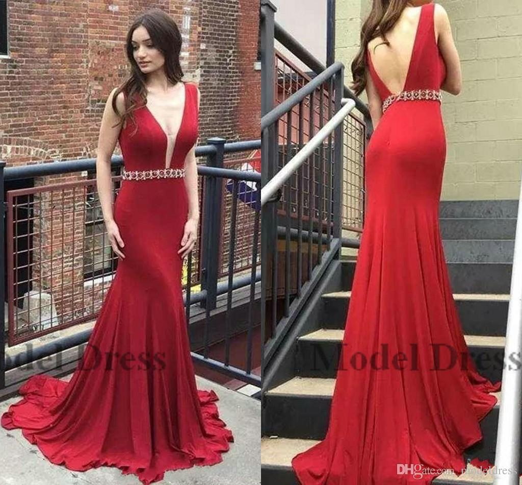 4b12aa07f7a Elastic Satin Mermaid Evening Dresses Sleeveless Backless Beading Sashes Prom  Gowns Sexy Deep V Neck Sweep Train Red Evening Gowns Designer Evening Dress  ...