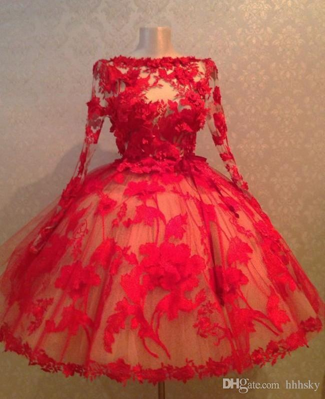 Vintage 1950's Style Red Lace Ball Gown Short Evening Dresses Long Sleeves Sheer Sexy Prom Dresses n Formal Gowns With Appliques hhhsky