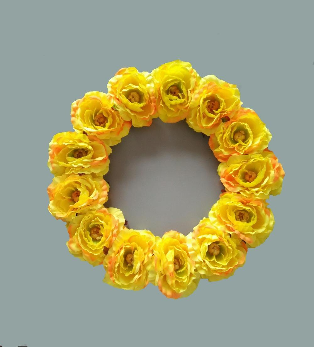 Online Cheap 16 Inches Yellow Rose Wreaths Home & Wedding Front Door ...