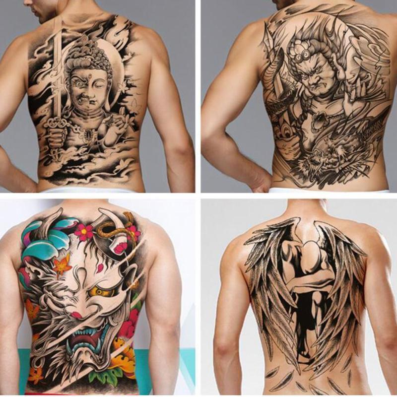 e868d595da4f8 48*35cm Big Size Buddha Ghost Totem Tattoo Stickers Men Women Waterproof Full  Back Body Temporary Tattoos RP2 Tattoo Metallic Temporary Ink Tattoos From  ...