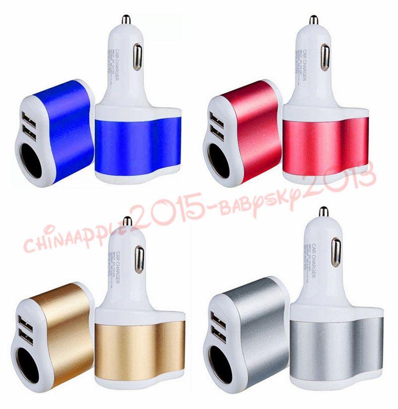 Cargador de coche 3.1A Dual USB One Way Cigarette Lighter Socket Adaptador Cargador para iphone Mp3 Mp4 Gps
