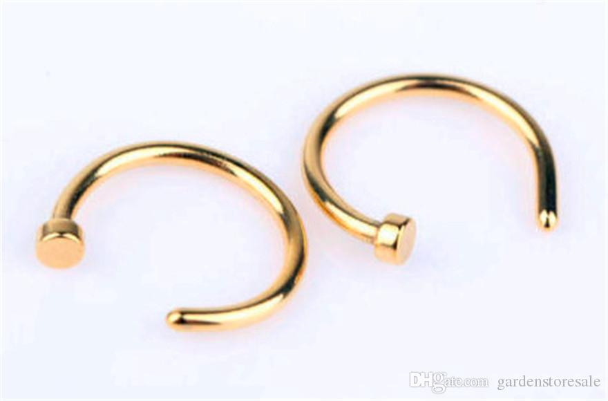 هيئة حلقة وهمية ثقب المجوهرات 5 ألوان النساء الأنف الأنف هوب المقاوم للصدأ حلقات الأنف كليب على الأنف هيئة المجوهرات