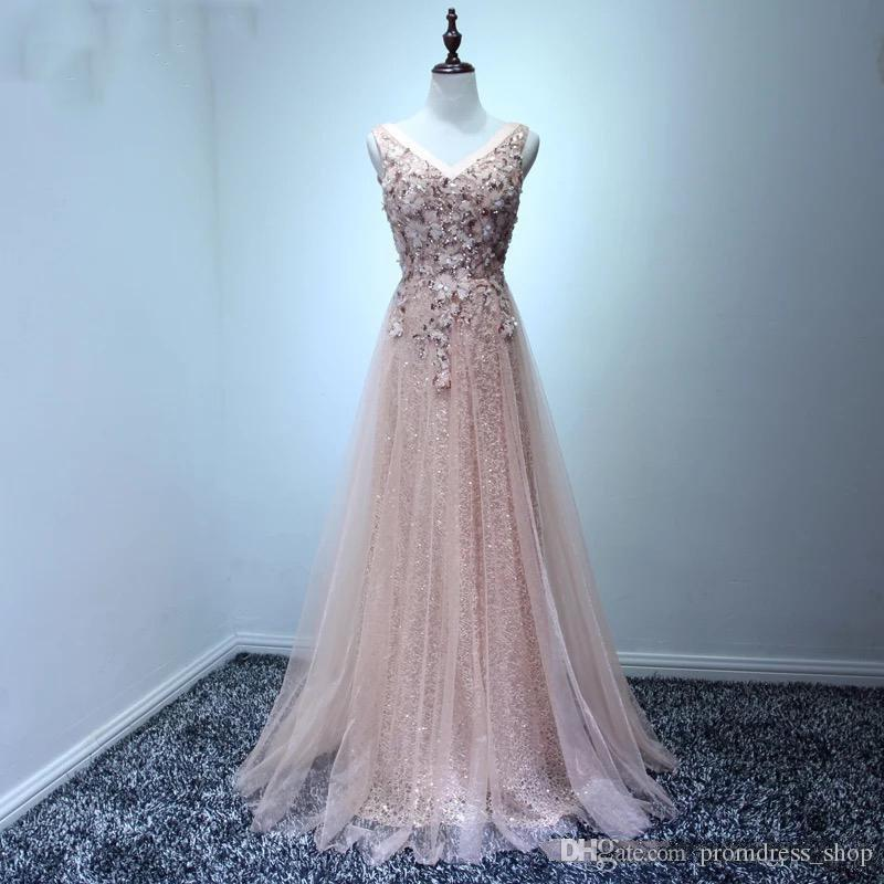 e19474022c835 Free Shipping 2019 Blush Pink Women Prom Dress A line Fitted Long Formal  Maxi Gowns for Special Occasion Vestidos de Noiva Longa