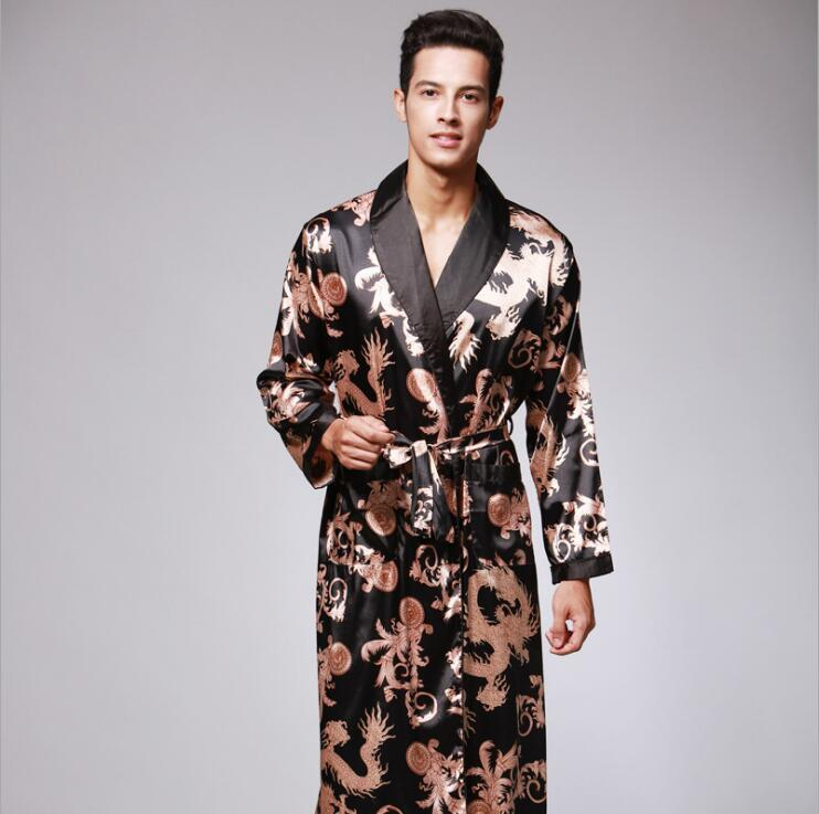 e8934c9143e 2019 Luxury Men Robe 2018 Couple Bathrobe Brand Faux Silk Robes Long Home  Clothing Male Sleep Robe XXL Summer Style SY042 From Baimu