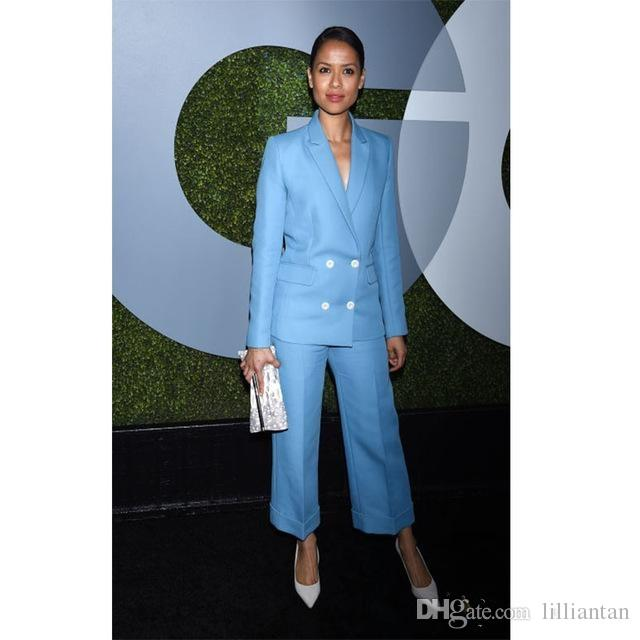 Women Ladies Formal Pant Suits Light Blue Mother Of The Bride