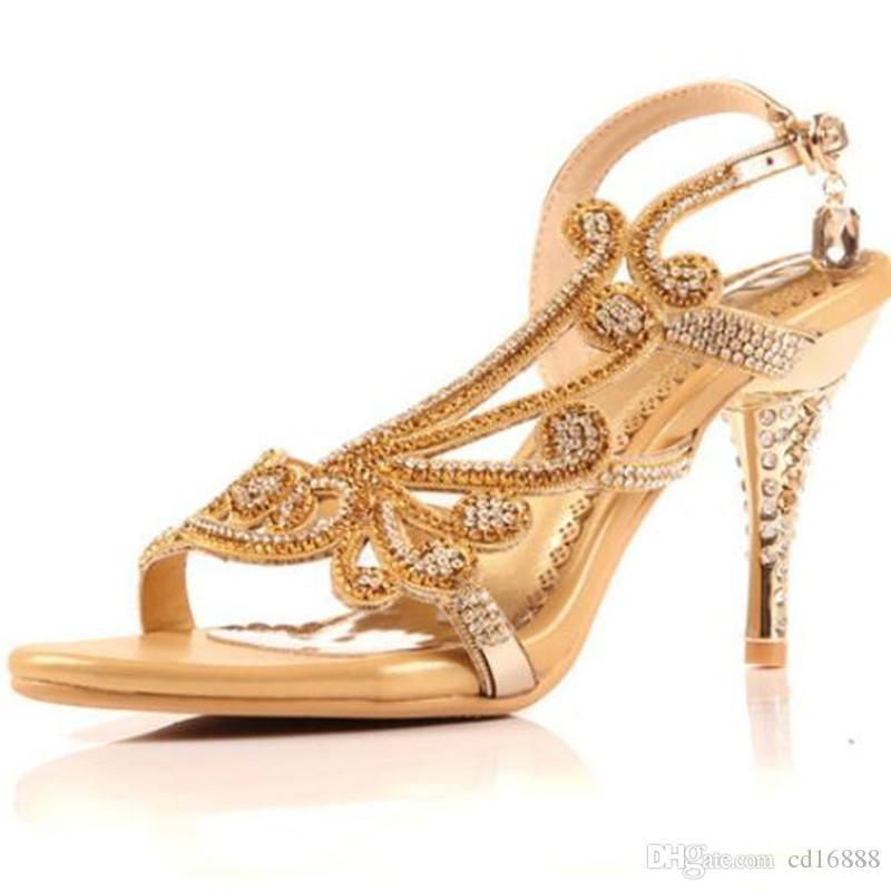 93a0b17689 Hot selling summer Shoes Woman Sexy Fashion Sandals New Rhinestone Summer  Women Sandals High Heels Real Leather Shoes Shoes Size 33-42