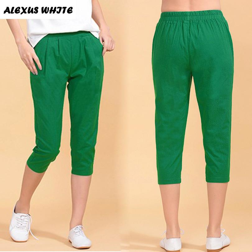 abc61ed3e52d 2019 Cotton Linen Capri Pants For Woman 2017 Summer Casual Harem Pants  Women S Clothing Plus Size Elastic Waist Thin Trousers From Brry