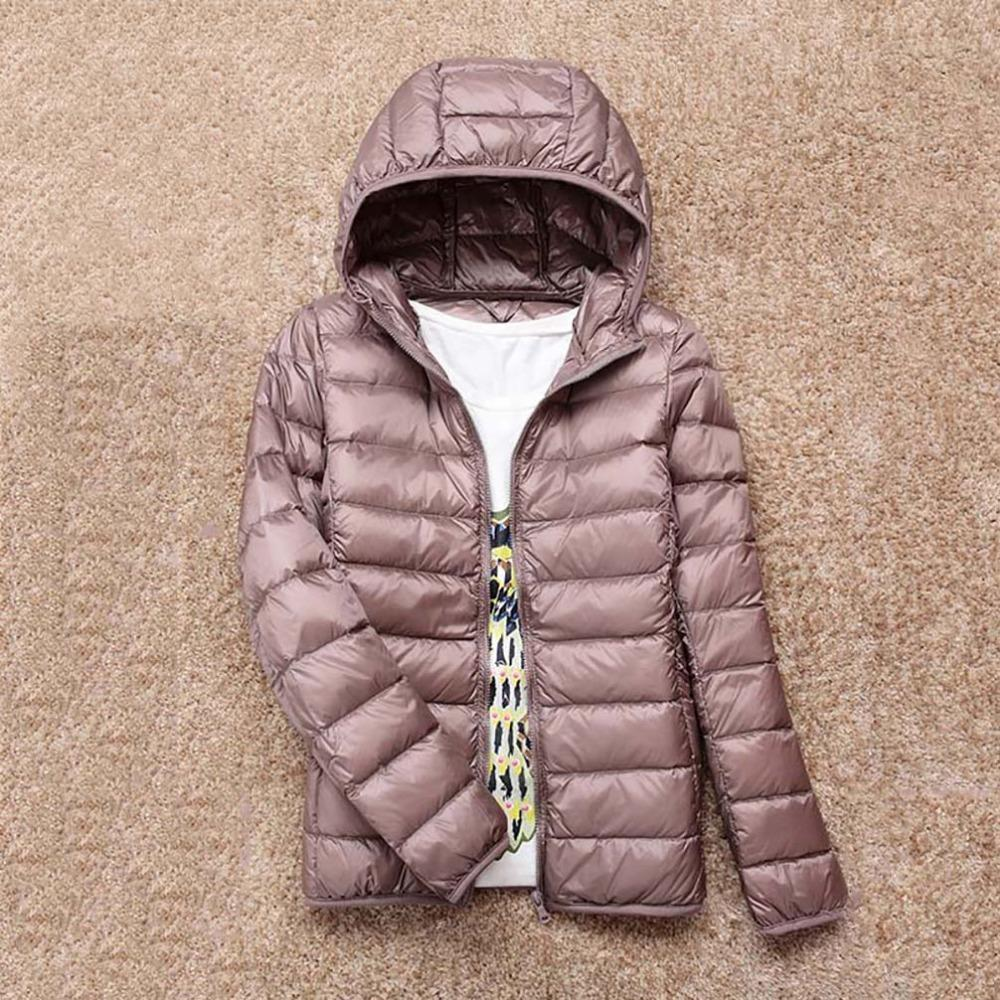 7f4946ea4db 2018 New Winter Warm Ultra Light 90% White Duck Down Jacket Women Down Coat  With Bag Women Thin Hooded Autumn Jackets Coat Brand S18101204 Leather  Jacket ...
