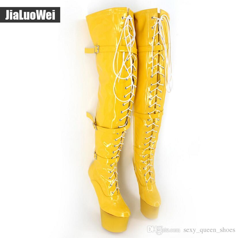 Women Thigh High Leg Boots Lace up Extreme 20cm Heel Fetish Heelless Hoof Sole White Man Sexy Buckles Shoes over knee high boot