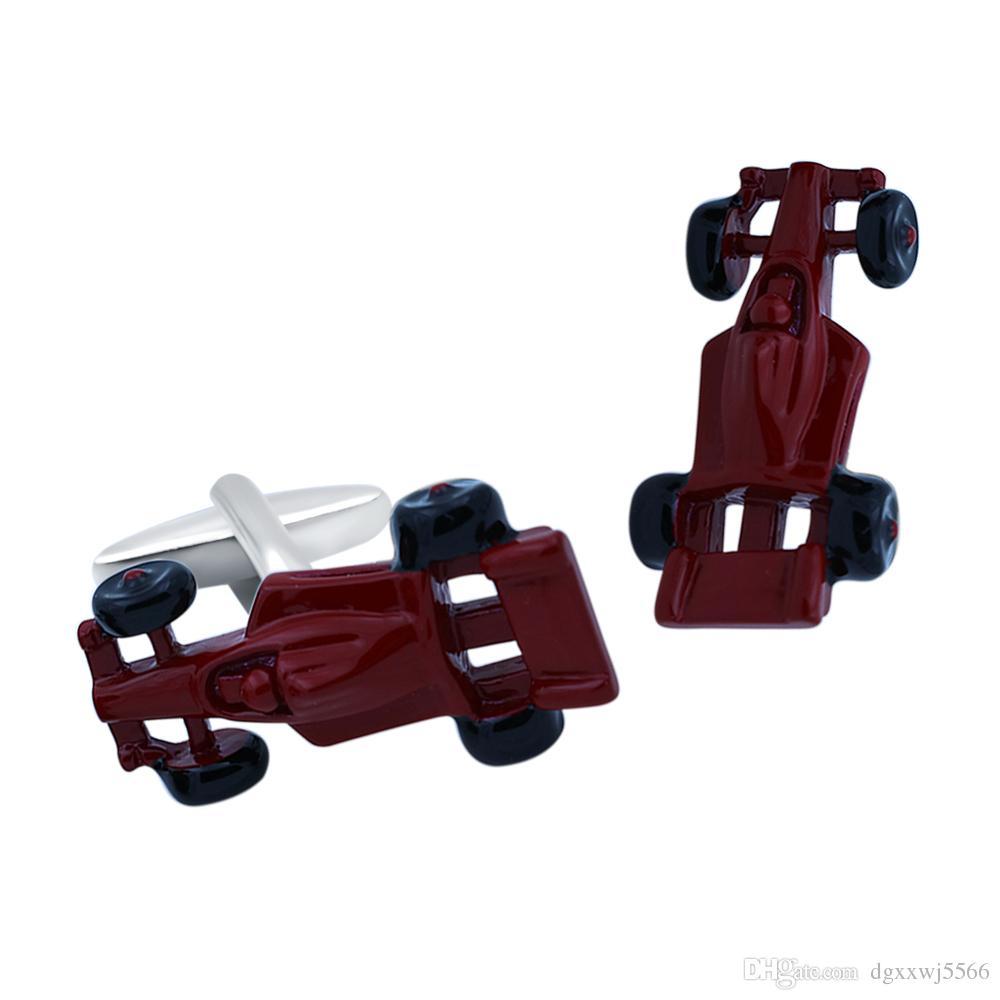 Gemelli della camicia da uomo in ottone di colore rosso Materiale Novità Gemelli accessori da corsa di design da auto da corsa regalo di promozione