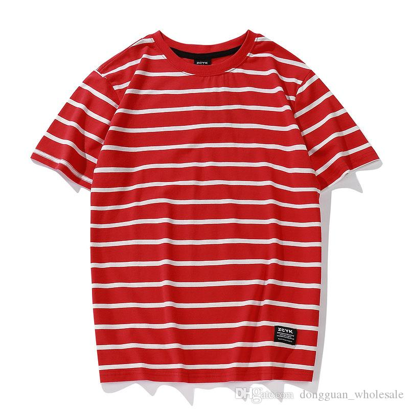 Fashion Striped T Shirts 2018 Men Women Skateborad Red White Striped T Shirt Top Tees Hip Hop Black White Striped T-Shirts