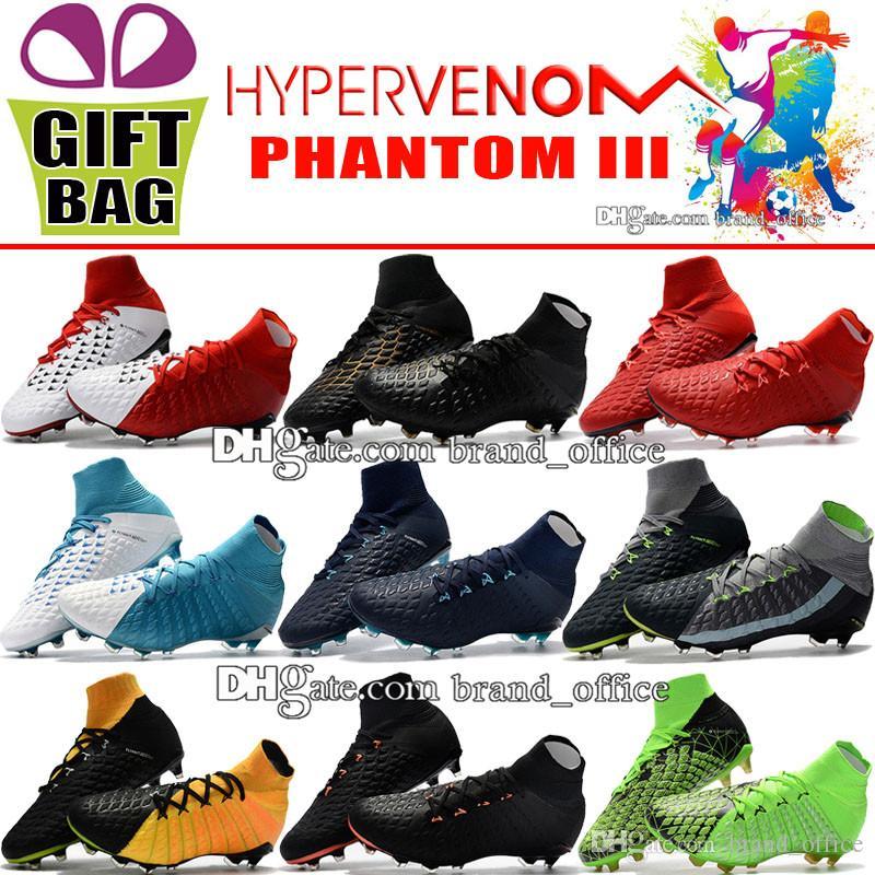 ed7ec8ee952 2018 Cheap High Ankle Football Boots Hypervenom Phantom III DF FG Soccer  Shoes Outdoor Hypervenom ACC Socks New Arrivals Soccer Cleats 39 46  Childrens Boot ...