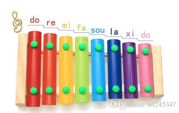 Baby's Wooden Musical Toys Trailer 8-Note Xylophone Children Hand Knocking Piano Music Instrument Early childhood educational toys