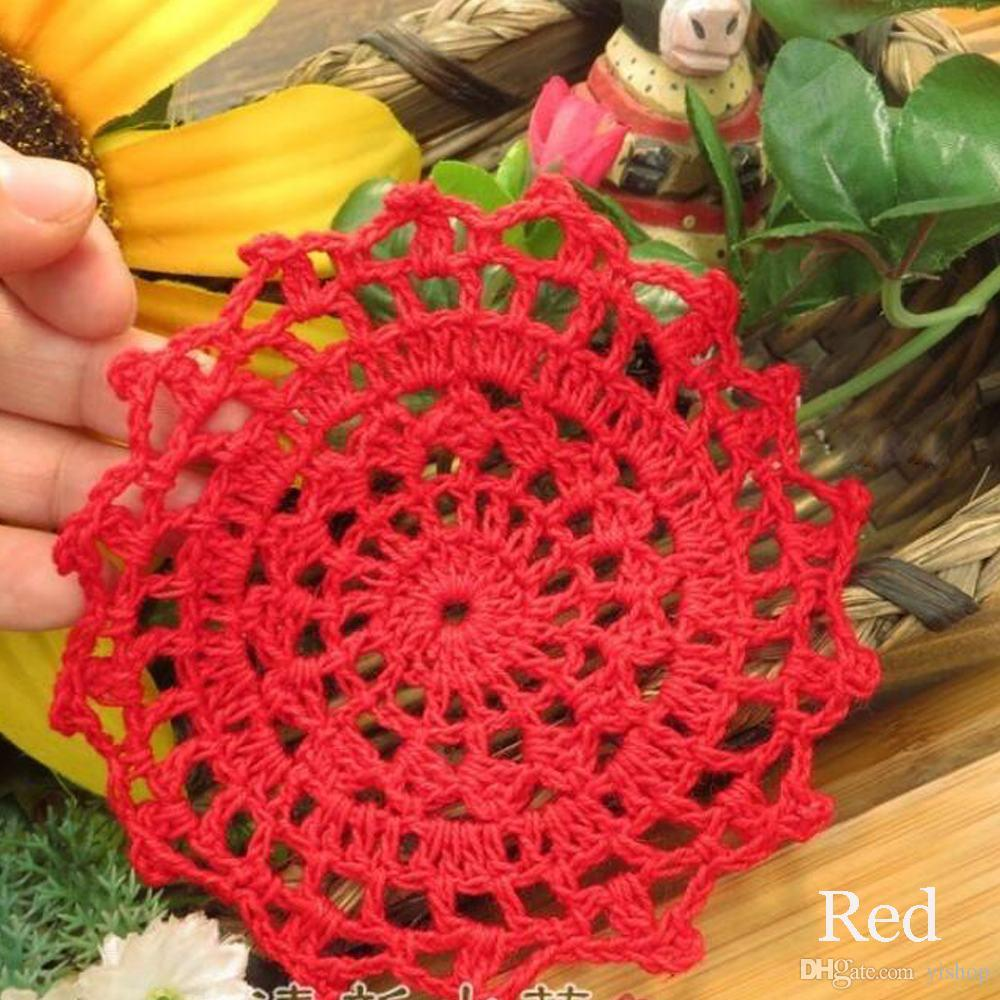 Wholesale DIY Household Handmade Crochet Cup Pad Coffee Cup Coasters Mats Lace Pattern Table Cloth Coasters Round Placemats 10CM