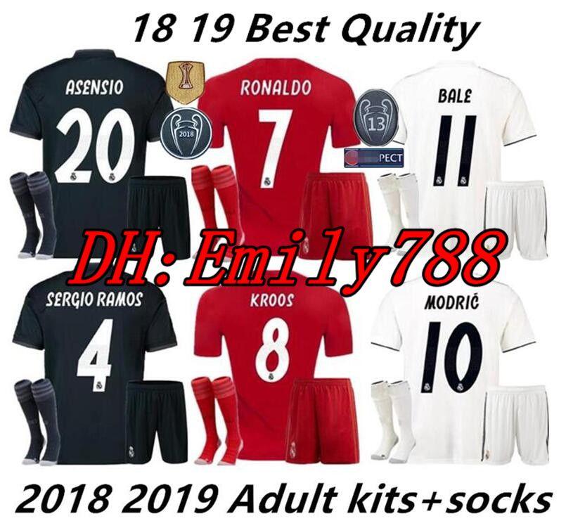 Compre 18 19 Kits Para Real Madrid Kits De Uniformes De Futebol Para  Adultos + Meias Conjuntos Uniformes Kits Adultos 2018 2019 JAMES BALE ISCO  Home Away ... a4b4fb606f1c5