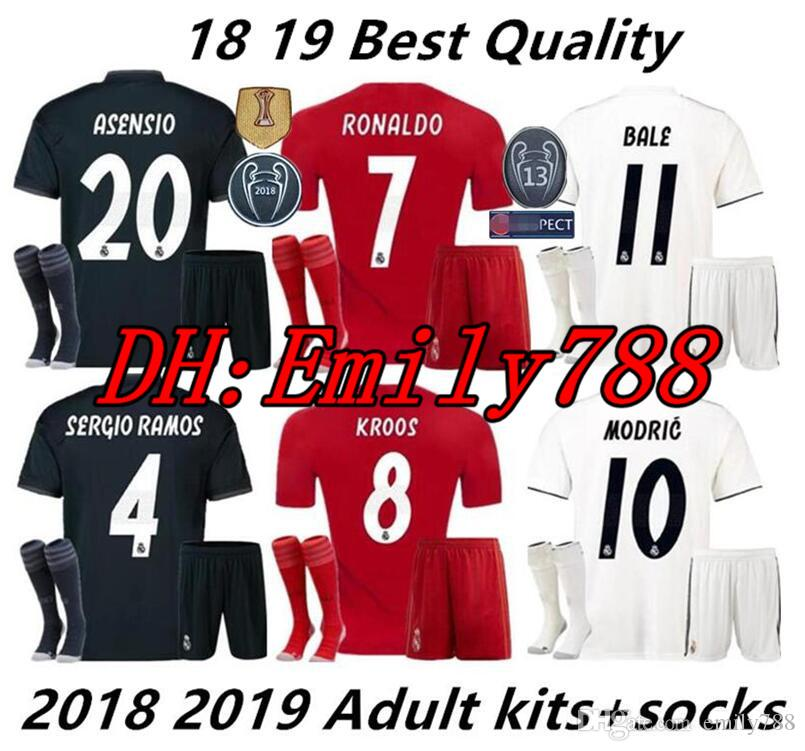 2a3385ab6 Großhandel 18 19 Real Madrid Kits Erwachsene Fußball Trikots Kits + Socken  Uniformen Sets Erwachsenen Kits 2018 2019 JAMES BALE ISCO Heimweg Dritte  Fußball ...