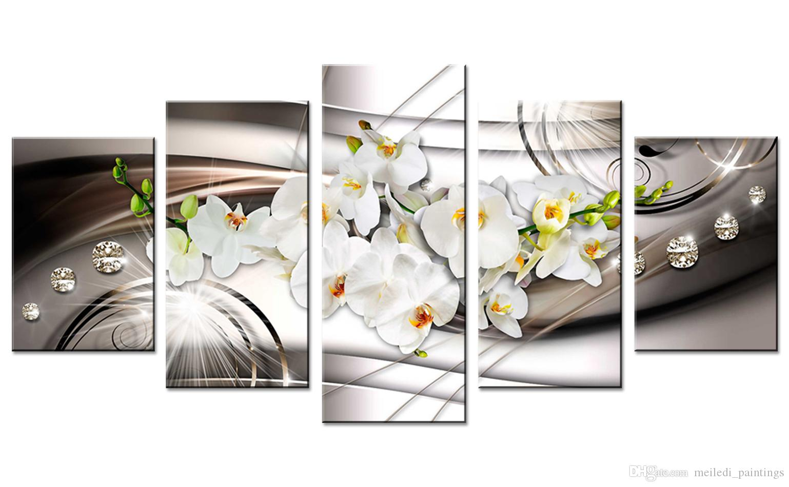 Butterfly orchid printed canvas wall painting white flower painting  decorative diamond crystal wall painting family frameless