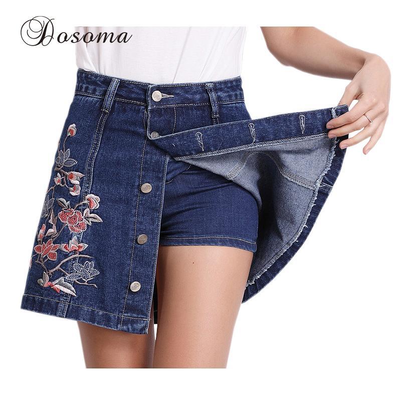 3893f53b4c30f Plus la taille 3XL fleur broderie denim shorts jupes femmes 2017 taille  haute jupe shorts femme été occasionnels jeans