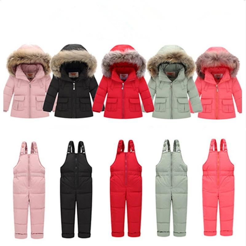 c6208c2b5 2018 Russian Winter Children Clothing Sets Girls Thicken Parka Down ...