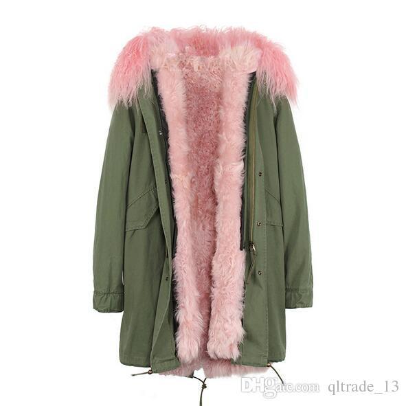 forro de pele de ovelha Mongólia guarnição marca Jazzevar Caramel cordeiro pele camuflagem desembolsar longas jaquetas parka neve do inverno com pele casaco com capuz guarnição