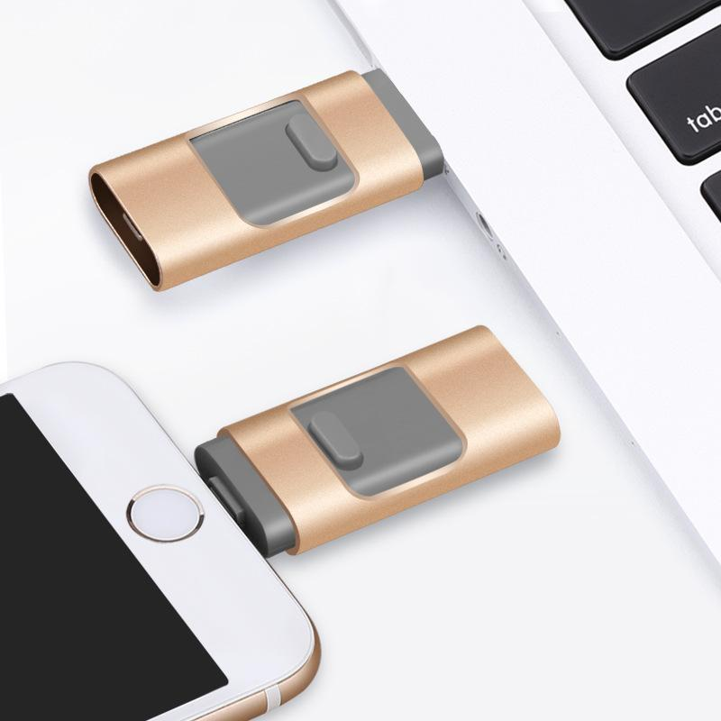 sports shoes 22d64 4aa0a 3 In 1 USB Flash Drive for iPhone 8/8 Plus Apple Pen Drive 128g 64g 32g 16g  8g Android OTG Pendrive for Samsung U-Disk Memory Stick