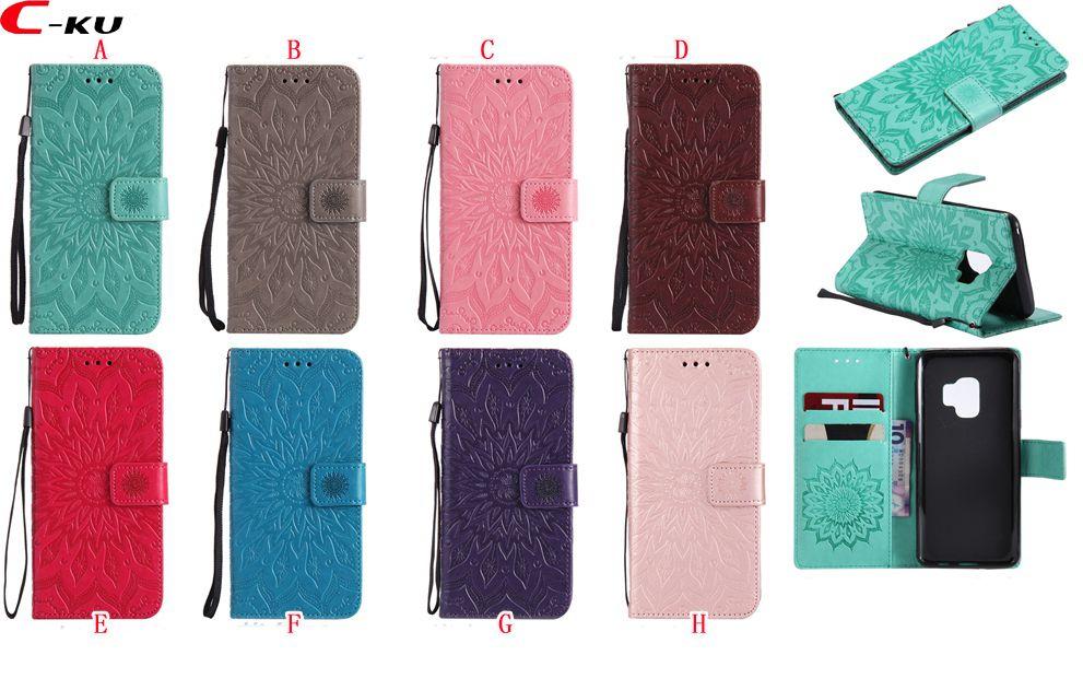 pretty nice 8e545 45bca Sunflower Leather Wallet Case For Samsung Galaxy S9 Plus A8 2018 Sony  Xperia L2 XA2 XZ1 Compact LG Q8 Q6 V30 Mandala Stand Flip Skin Cover