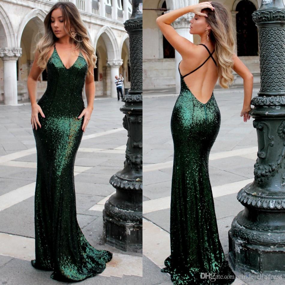 cf3a643583 Bling Bling Sequins Mermaid Prom Dresses 2018 Sexy V Neck Low Cut Back  Emerald Green Evening Dress Sweep Train Cheap Party Gowns Prom Dresses 2012  Prom ...