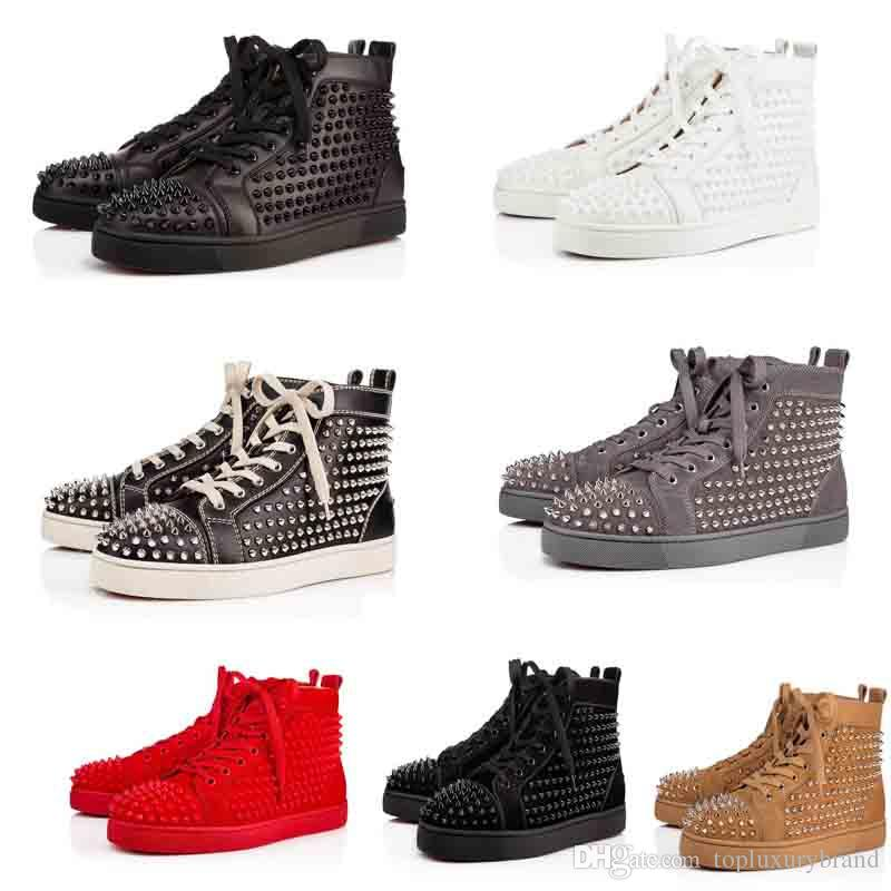 Wholesale Red Bottom Full Spikes Men's Flat Leather Suede Studs Trainers Men Women Red Sole Sneakers High Cut Luxury Designer Shoes Free