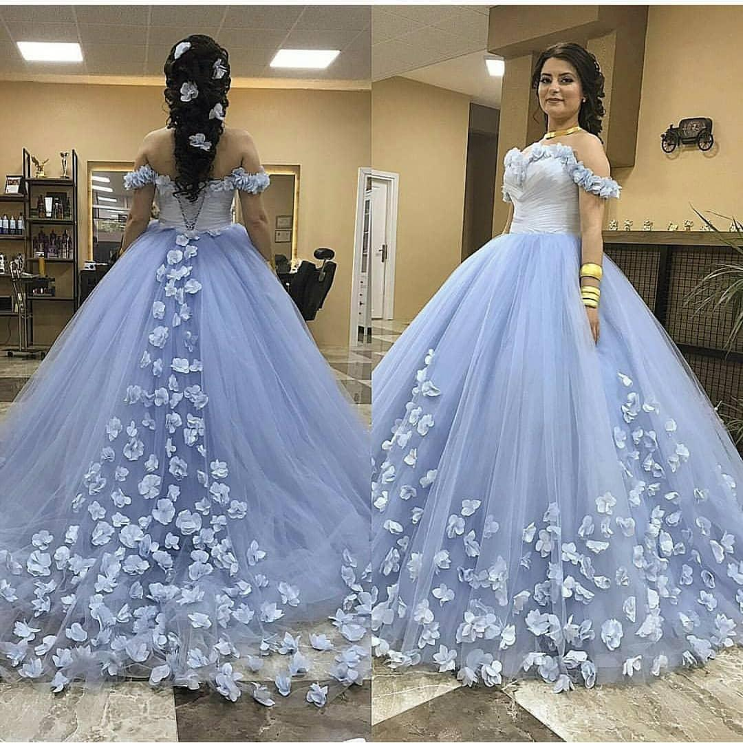 2571847eec 2019 Light Sky Blue Puffy Ball Gown Quinceanera Dress Off Shoulder Tulle  Beaded Hand Made Flowers Floor Length Party Prom Evening Gowns Wear Long  Gowns ...