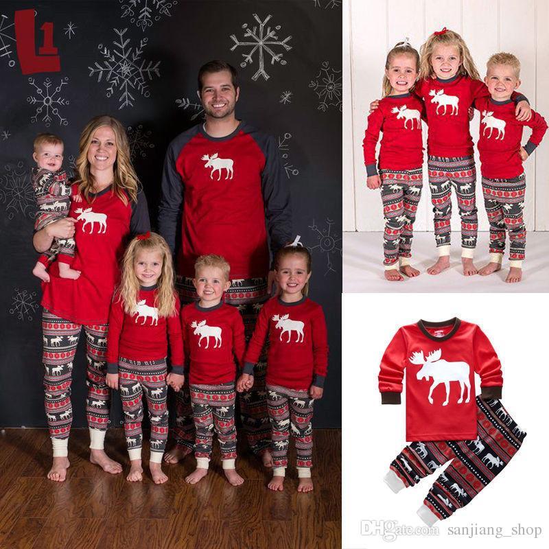 d2d6408c2e Christmas Kids Adult Family Matching Pajamas Set Long Sleeve Top And Pants  Xmas Deer Reindeer Parents Childen Sleepwear Nightwear 2018 UK 2019 From ...