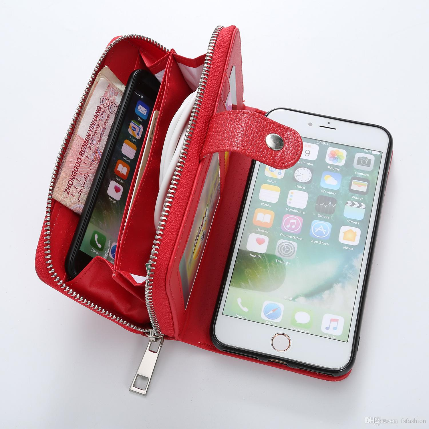 release info on 43ae2 aed2a For iPhone XS MAX XR X 8 7 6 6S Plus Wallet PU Zipper Bag Purse Case for  Samsung galaxy S9 S8 Plus S7 S6 Edge S5 Note 8 Handbag Cover