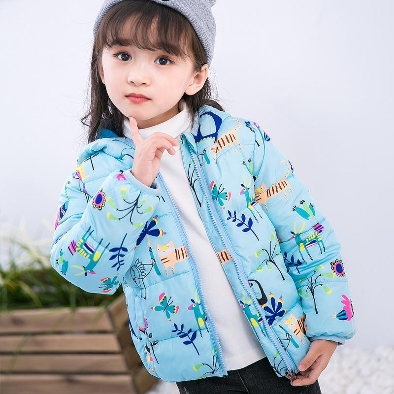 44eaf06235094 Baby Girls Jacket 2018 Children S Thicken Winter Coat Girls Cute Printing  Warm Coats Winter Cotton Cartoon Hooded Outerwear Boys Warm Winter Coats  Kids Rain ...