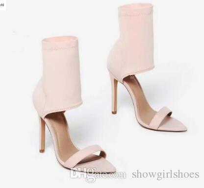 8404667f10 Compre 2018 Mulheres Stassi Pointed Cuff Heel Lycra Sandálias Sapatos De  Casamento Sandálias De Salto Alto Dedo Aberto Sandálias De Nudez Partido  Sapatos ...