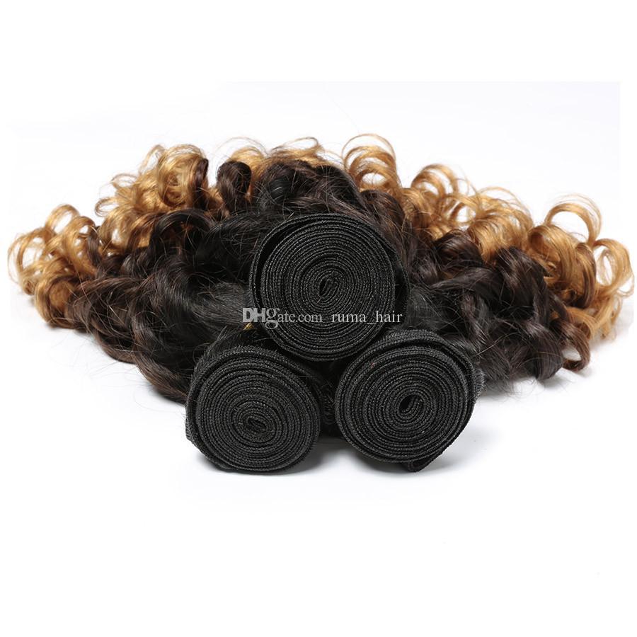 Funmi Hair Cheap Ombre Bouncy Romance Curls Virgin Brazilian Fumi Human Hair Weave Bundles Three Tone 1b 4 27 Honey Blonde Hair