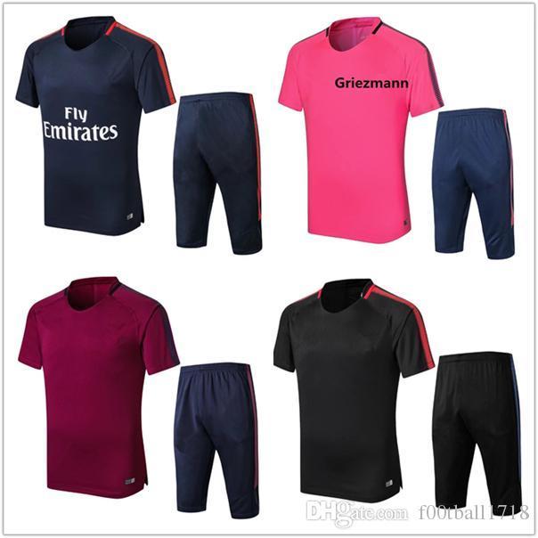 d78ab42e0 2018 Atleticos Tracksuit Kit REUS GRIEZNMANN Neymar JR Men City Training  Suit Top Frences TrackSuit Short Sleeve 3 4 PANTS Football Uniform Shorts  Pants ...