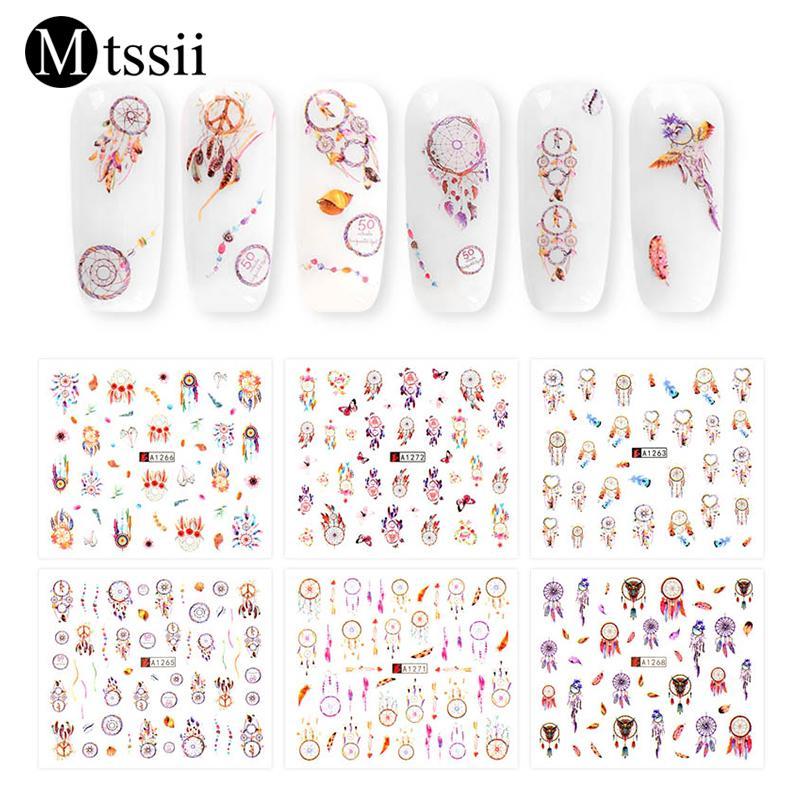 Mtssii 12 Stücke Nail Art Sticker Bunte Wasser Transfer Aufkleber Lace Dream Catcher Design Nail Art Slider Applique Dekoration