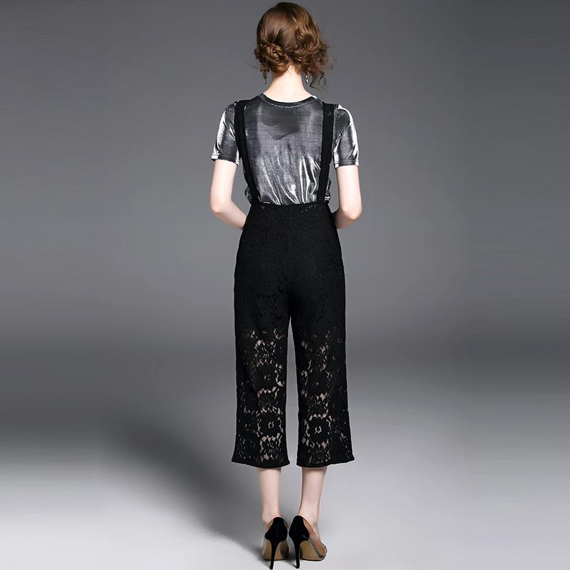 Willstage Women Suits Two Pieces Short Sleeve T-shirt and Jumpsuits Lace Belt Pants Wide Leg 2018 Spring Sets Top Playsuits New