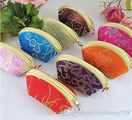 Small Shell Cheap Zipper Coin Purse Favor Bag for Candy Chocolate Jewelry Gift Pouches Silk Brocade Floral Cloth Packaging