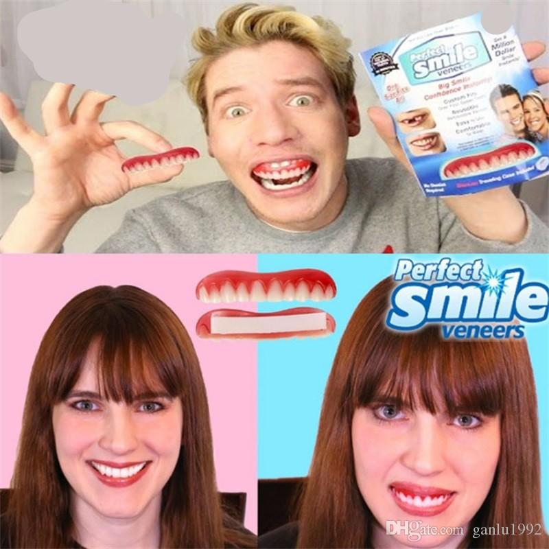Silicone Simulation Whitening Tooth Paste Novelty Games Imitation Number Of False Teeth Smile Veneers Comfort Fit Flex 8hh W