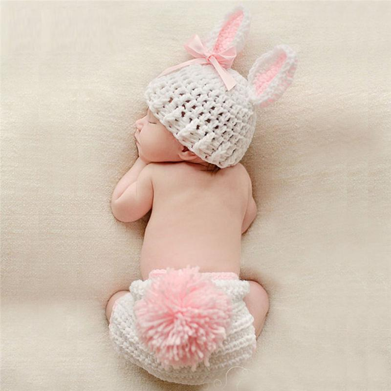 c5790fcd50b 2019 Newborn Baby Cute Crochet Knit Costume Prop Outfits Photo Photography  Baby Hat Photo Props New Born Girls Cute Outfit 0 12M From Universecp